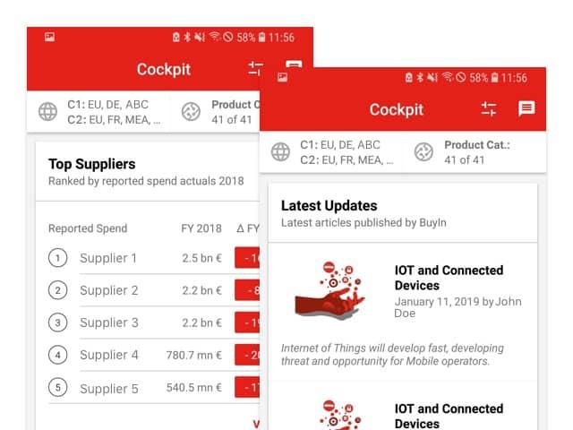 Screens Top Suppliers und Latest Updates der umgesetzten myBuyIn App