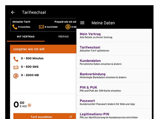 Screens Tarifwechsel und Meine Daten der designten und entwickelten congstar App
