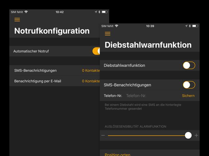 Notrufkonfiguration und Diebstahlwarnfunktion Screens der umgesetzten dguard App für digades