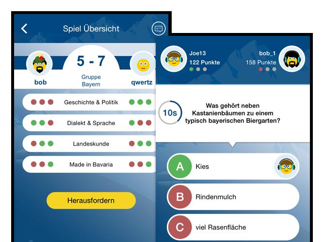 Spiel Übersicht und Beispielfrage Screens der umgesetzten Schlaubayer Quiz App für Antenne Bayern