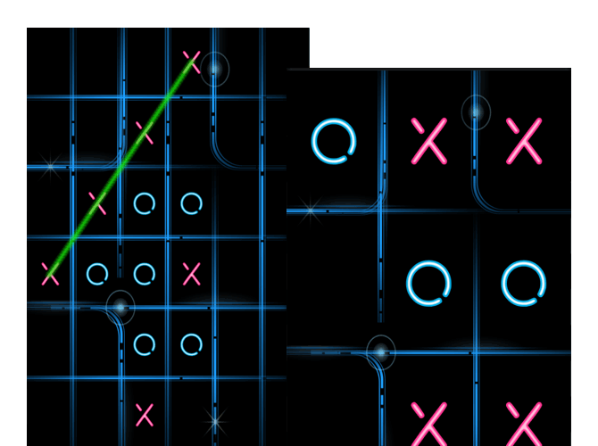 Beispiel Screens zweier Tic Tac Toe Spiele Screens mit einem Gewöhnlichen Spielfeld und einem erweiterten Spielfeld der umgesetzten Tic Tac Toe Glow App