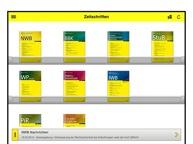 Zeitschriftenübersicht Screen der umgesetzten NWB Zeitschriften App für den NWB Verlag