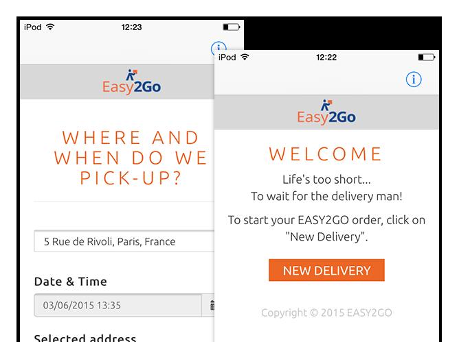 Where and when do we pick-up und Welcome Screens der umgesetzten Easy2Go Delivery App für Flash Europe International