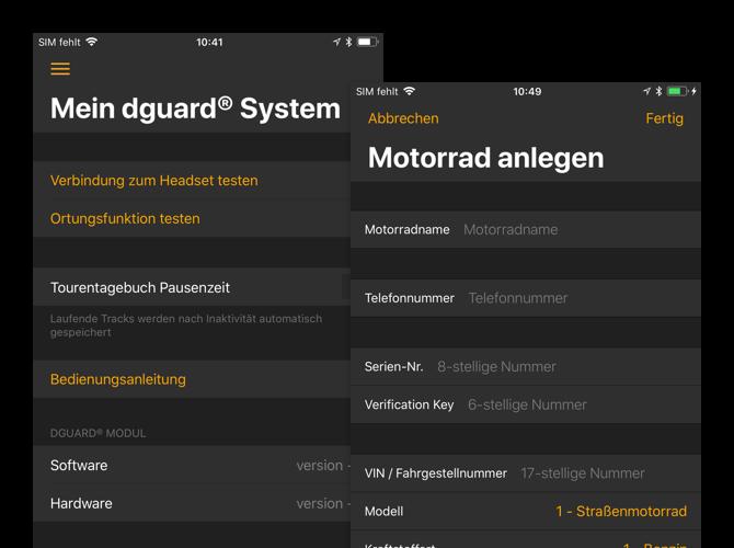 Mein dguard System und Motorrad anlegen Screens der umgesetzten dguard App für digades
