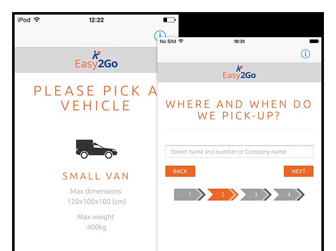 Where and when do we pick-up Schritt zwei und Please pick a vehicle Screens der umgesetzten Easy2Go Delivery App für Flash Europe International