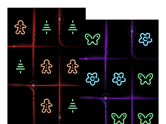 Beispielscreens von Tic Tac Toe Spielen mit veränderten Spielsymbolen, Weihnachtsbäume und Lebkuchenmänner, sowie Blumen und Schmetterlinge anstelle von Kreuzen und Kreisen der umgesetzten Tic Tac Toe Glow App