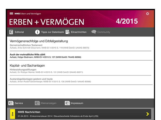 Erben und Vermögen Info Screen der umgesetzten NWB Zeitschriften App für den NWB Verlag
