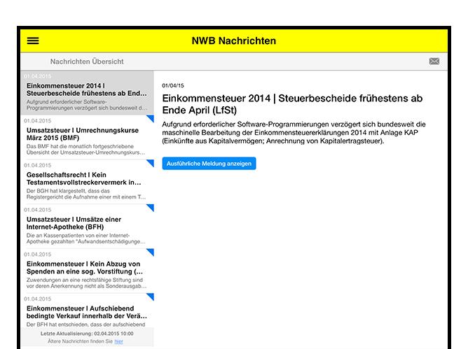 NWB Nachrichten Screen der umgesetzten NWB Zeitschriften App für den NWB Verlag