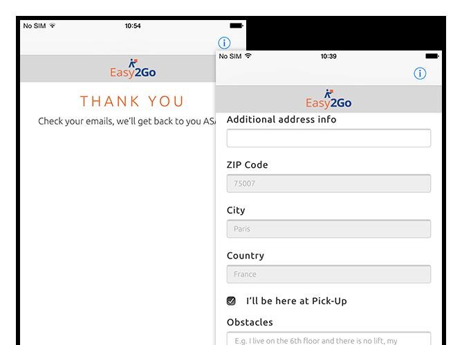 Thank you und Additional address info Screens der umgesetzten Easy2Go Delivery App für Flash Europe International