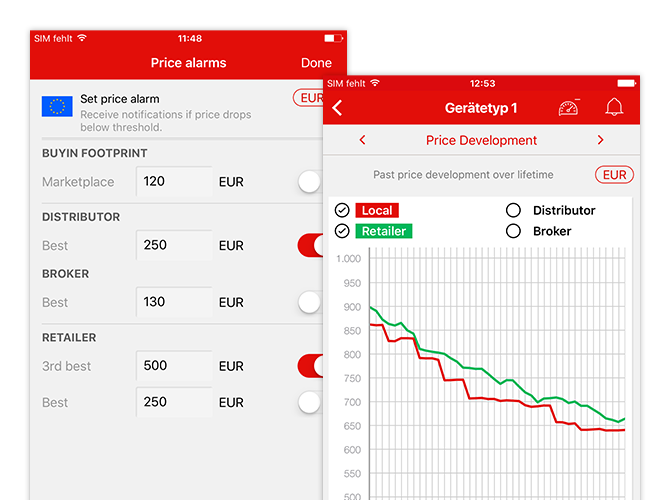 Price alarms und Price Development Grafik Screens der umgesetzten BuyIn Marketplace App