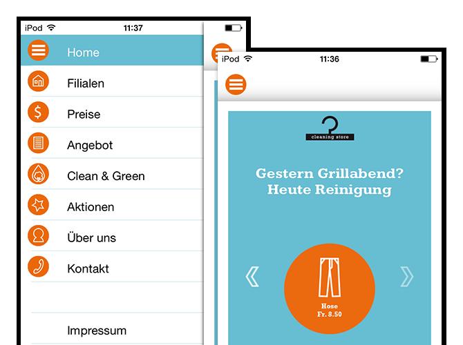 Menü und Preisbeispiel Screens der umgesetzten Cleaning Store App und Website für Oktonet
