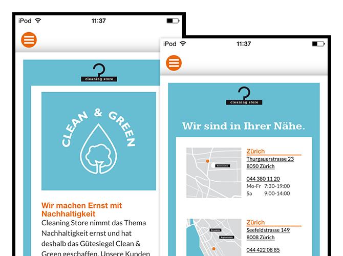 Clean & Green Nachhaltigkeitserklärung und Wir sind in Ihrer Nähe Screens der umgesetzten Cleaning Store App und Website für Oktonet