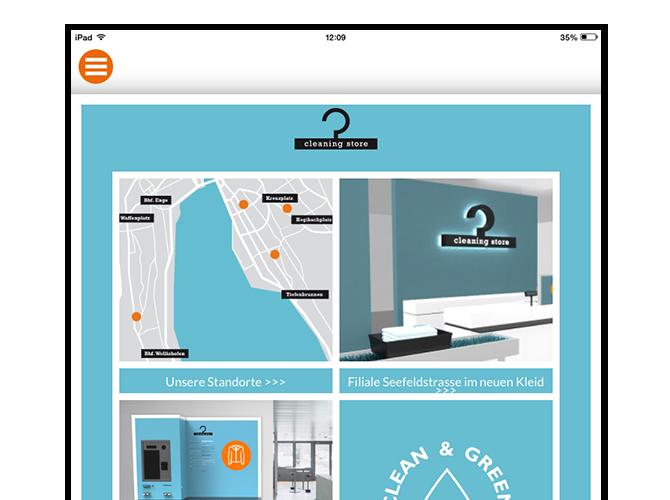 Cleaning Store Homepage Screen der umgesetzten Cleaning Store App und Website für Oktonet
