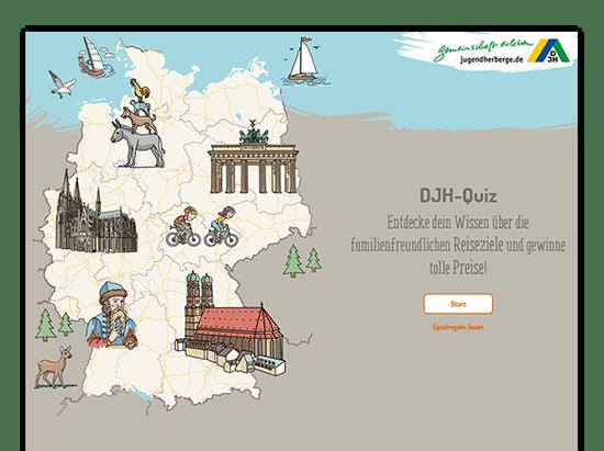 Homescreen der umgesetzten Jugendherberge Quiz Website für das Deutsche Jugendherbergswerk