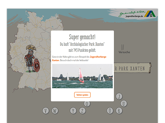 Super Gemacht Popup über Spielscreen der umgesetzten Jugendherberge Quiz Website für das Deutsche Jugendherbergswerk