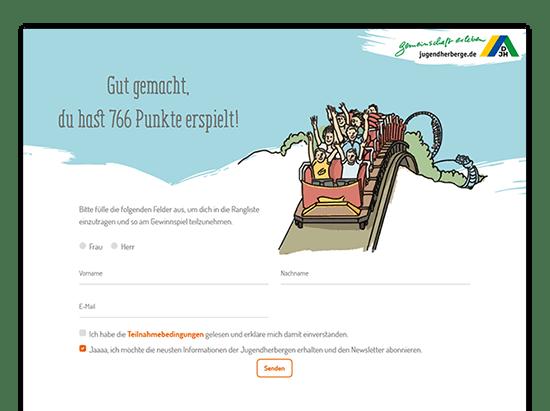 Gut gemacht Ergebnisscreen der umgesetzten Jugendherberge Quiz Website für das Deutsche Jugendherbergswerk