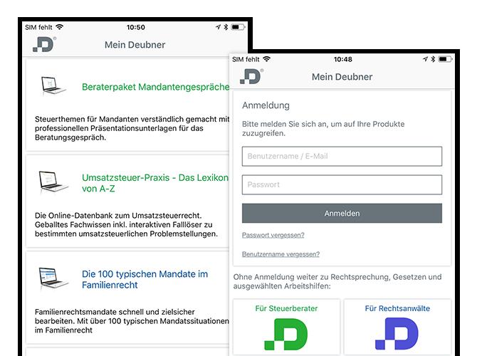 Anmeldung und Auswahl Screens der umgesetzten Mein Deubner Verlagsapp für den Deubner Verlag