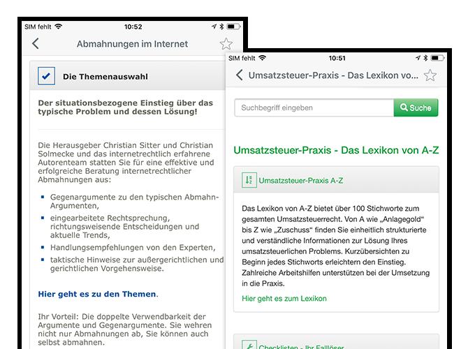 Themenauswahl und Umsatzsteuer-Praxis Lexikon Screens der umgesetzten Mein Deubner Verlagsapp für den Deubner Verlag