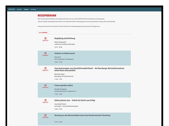 Messeprogramm Screen der IHK Existenz - Die Gründermesse Website für die IHK München