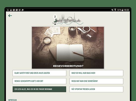 Beispielfrage Screen mit Textantworten der umgesetzten Facebook App Book And Away Quiz für Florian Film