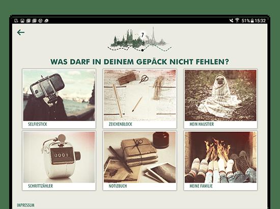 Beispielfrage Screen mit Bilderantworten der umgesetzten Facebook App Book And Away Quiz für Florian Film