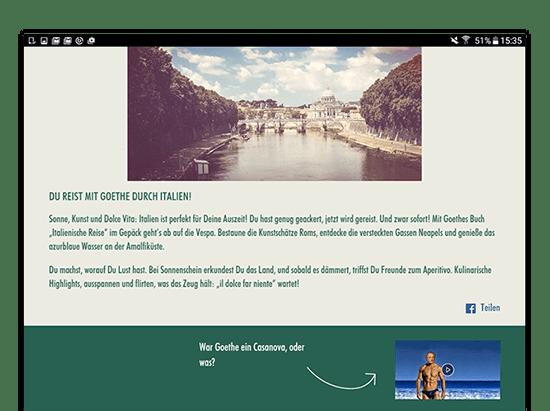Auflösungs Screen der umgesetzten Facebook App Book And Away Quiz für Florian Film