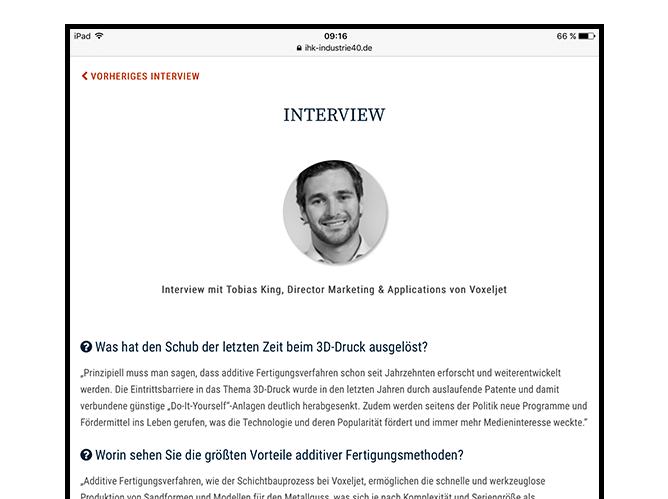 Interview Screen der umgesetzten IHK Industrie 4.0 App für die IHK München und Oberbayern