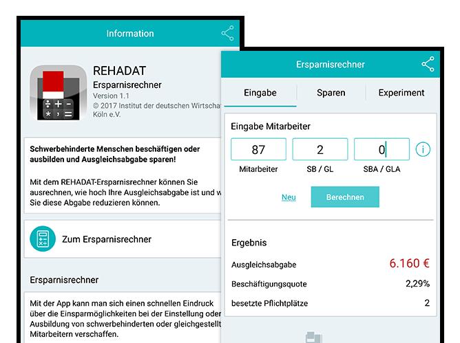 Information und Ersparnisrechner Eingabe Screens der umgesetzten REHADAT Elan Ersparnisrechner App für das Institut der deutschen Wirtschaft Köln
