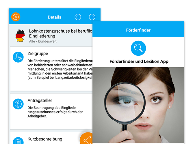 Details und Förderfinder Screens der umgesetzten Förderfinder App für das Institut der deutschen Wirtschaft Köln