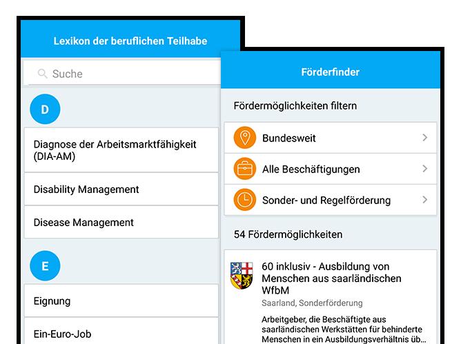 Lexikon der beruflichen Teilhabe und Förderfinder Screens der umgesetzten Förderfinder App für das Institut der deutschen Wirtschaft Köln