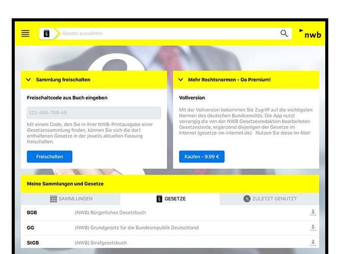 Homescreen der umgesetzten NWB Gesetze App für den NWB Verlag