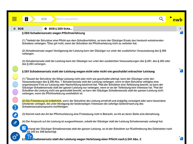 Paragrafen Screen  der umgesetzten NWB Gesetze App für den NWB Verlag