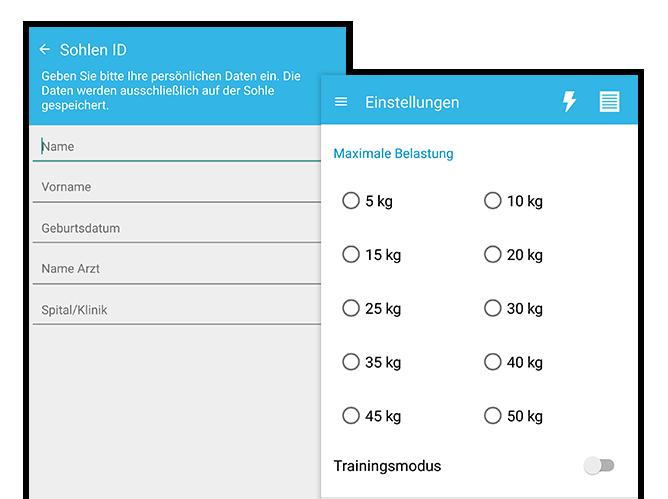 Sohlen ID und Einstellungen Screens der umgesetzten PWC Belastungsmesser App für Piomed
