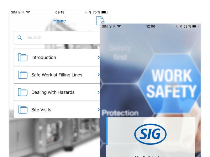 Homescreen und Screen mit SIG Logo der umgesetzten Safety First App für SIG Combibloc