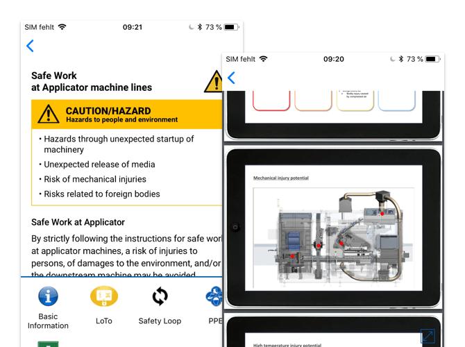 Safe Work und Blueprint Screens der umgesetzten Safety First App für SIG Combibloc