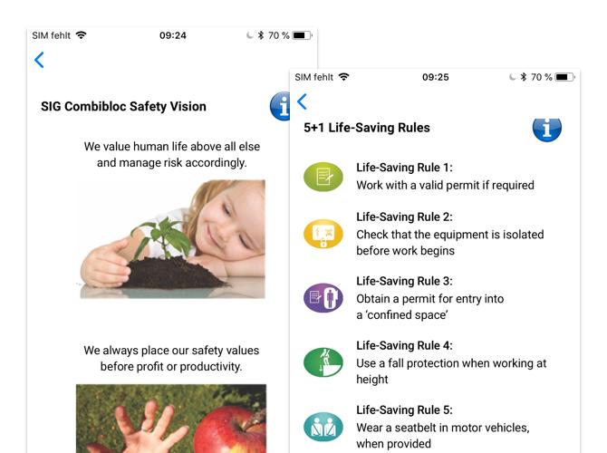 SIG Combibloc Safety Vision und 5+1 Life-Saving Rules Screens der umgesetzten Safety First App für SIG Combibloc