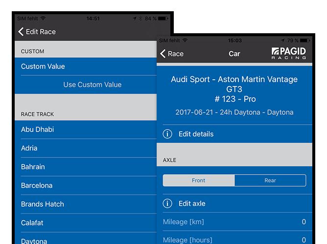 Edit Race - Custom und Car Screens der umgesetzten TMD Performance App für Pagid Racing