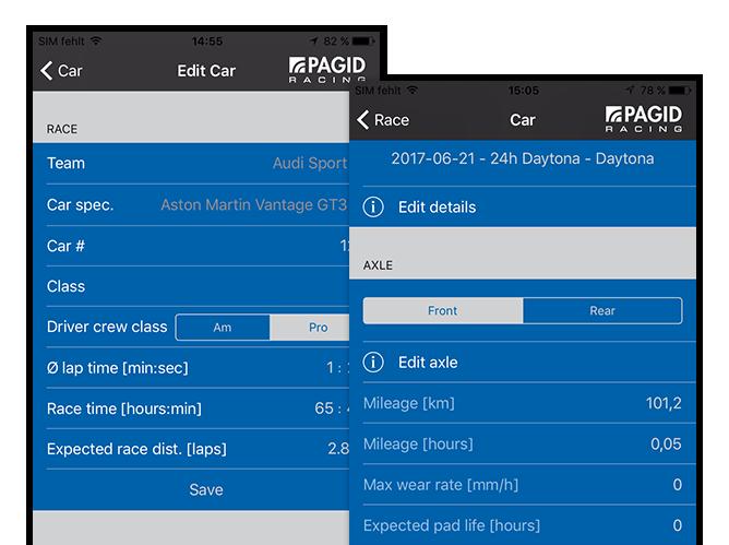 Edit Car Screen und heruntergescrollter Car Screen der umgesetzten TMD Performance App für Pagid Racing
