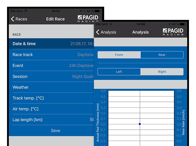 Edit Race - Race und Analysis Screens der umgesetzten TMD Performance App für Pagid Racing