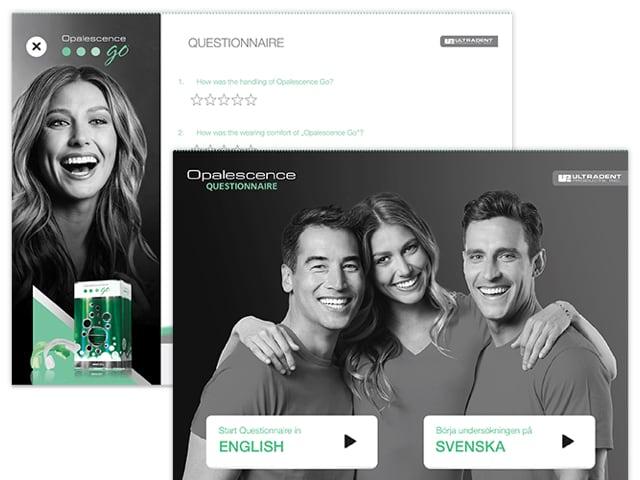 Questionnaire und Sprachauswahl Screens der Ultradent Opalenscene App für Ultradent Products