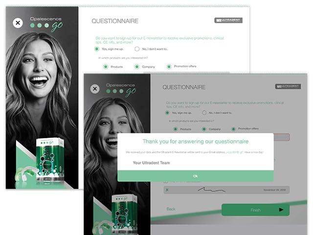Questionnaire und Questionnaire mit Pop-up Screens der Ultradent Opalenscene App für Ultradent Products