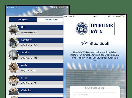 Statistik Alle Spieler und Willkommen Screens der Studiduell Quiz App für die Universitätsklinik Köln