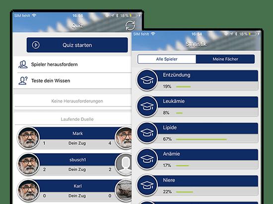 Quiz Starten und Statistik Meine Fächer Screens der Studiduell Quiz App für die Universitätsklinik Köln