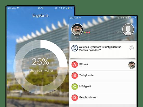 Ergebnis und Beispiel Frage Screens der Studiduell Quiz App für die Universitätsklinik Köln