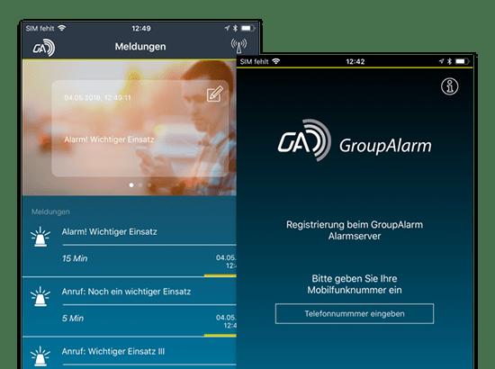 Meldungen und Registrierung Screens der umgesetzten GroupAlarm App für die Cubos Internet GmbH