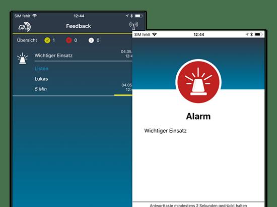 Feedback und Alarm Screens der umgesetzten GroupAlarm App für die Cubos Internet GmbH
