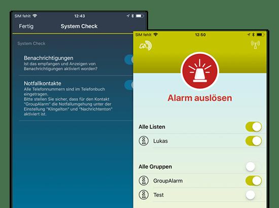 System Check und Alarm auslösen Screens der umgesetzten GroupAlarm App für die Cubos Internet GmbH