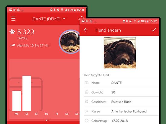 Beispiel Hundeprofil Aktivitätengrafik und Hund ändern Screens der umgesetzten Furryfit App für MyWOOFI