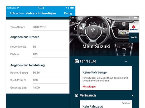 Verbrauchs- und Fahrzeug Verwaltungsscreens der umgesetzten SUZUKI Automobile App