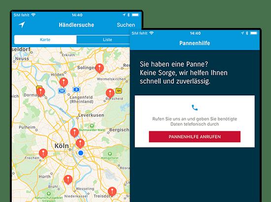 Händlersuche und Pannenhilfe Screens der umgesetzten SUZUKI Automobile App